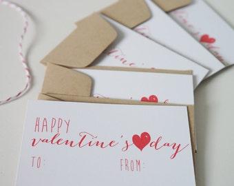 Happy Valentine's Day Card Set of 5 Valentines