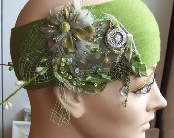 Quiet Forest headband- SALE, fancy, vintage textiles, flowers and feathers, wedding