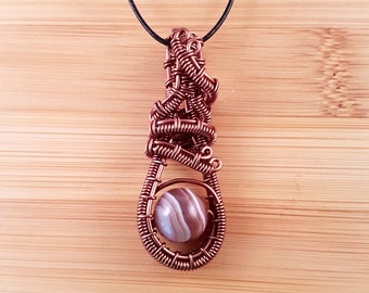 Bronze wire wrapped brown Botswana agate pendant necklace