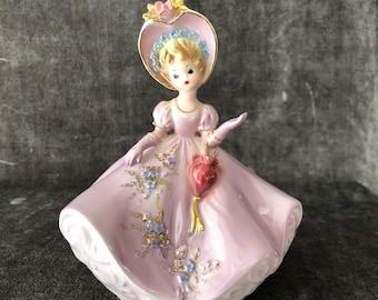 Vintage musical pink violet Josef lady girl figurine