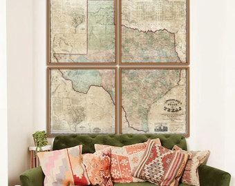 """Texas map 1858, Large map of Texas state in 4 sizes up to 72x72"""" or 6x6 feet - Huge Texas map in 1 or 4 parts - Limited Edition of 100"""