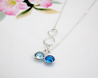 Family necklace Infinity necklace Swarovski crystal necklace Sister gift Birthstone necklace Birthday gift Bridesmaid gift Mother jewelry
