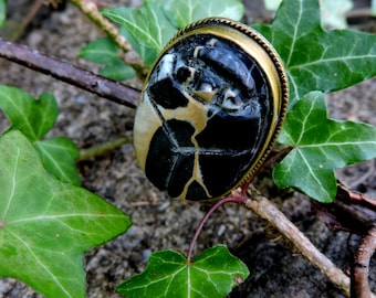 Hand Carved Black Banded Agate Egyptian Scarab Beetle Brass Ring Handcrafted Artisan Adjustable Jewellery