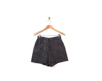SPRING 20 SALE Vintage 80s Black Polka Dot SEEDS High Waist Short Shorts women small vestiesteam indie hipster fashionista retro boho minima