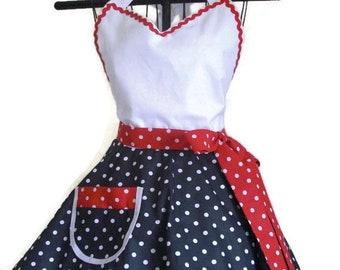 Sweetheart Retro Apron Black and White Red and White Polka Dots Circular Flirty Skirt