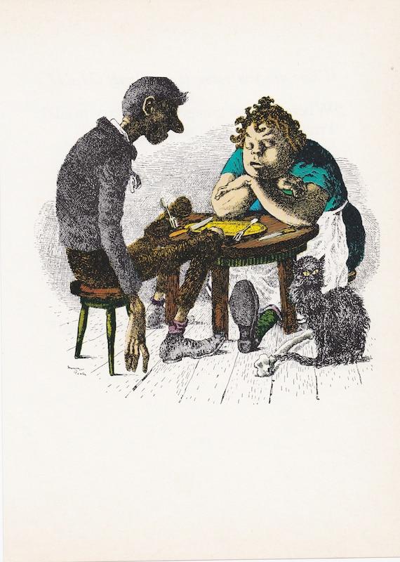 "Illustration of nursery rhyme ""Jack Sprat"", Mervyn Peake, 7 x 9.75 inches, 1975 book illustration,"