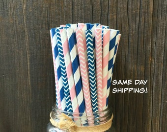 100 Navy and Pink Straws, Baby Shower, Birthday Party Supply, Free Shipping!