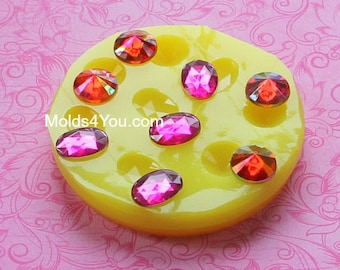Silicone Gem Mold Oval Faceted Cabochon Mold Fondant Resin Polymer Clay Wax Fondant Moulds