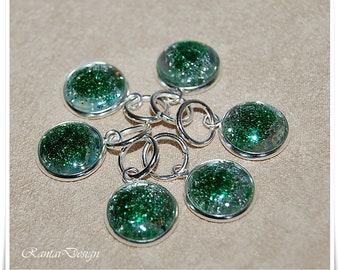 Stitch markers knitting Glitter green rings stitch marker 12 mm Lanyard