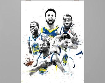 Kevin Durant Stephen Curry Klay Thompson Draymond Green Andre Iguodala Golden State Warriors Man cave Dorm decor Modernt art print #0286