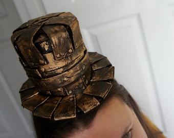 Handmade Antique Copper Gold Metal Effect Steampunk Victorian Mini Top Hat Pirate Cosplay Steampunk Victorian Formal Hat