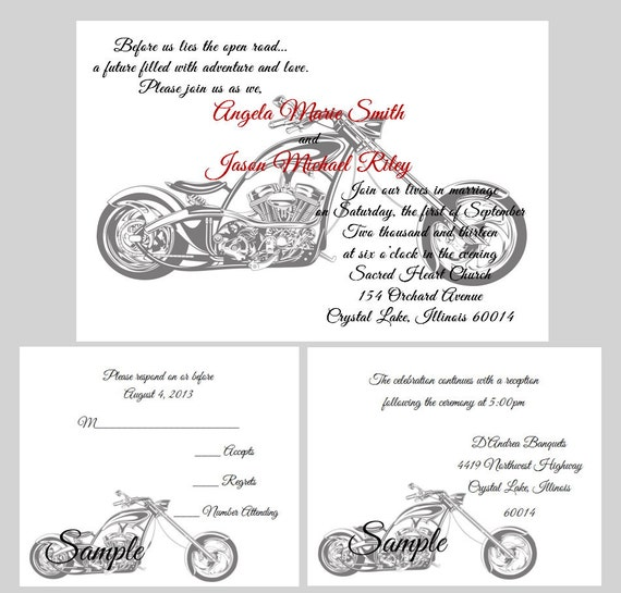 50 Personalized Custom Harley Davidson Motorcycle Wedding