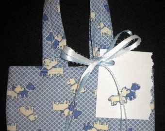 Scottie Dog \/ Vintage Fabric \/ Reusable \/ Fabric Gift Tote \/ Ex Small \/ With Gift Tag