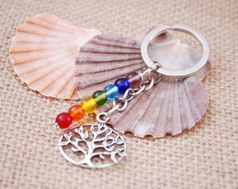 Rainbow key ring, silver tone hippie keychain, tree of life keychain, Christmas gift