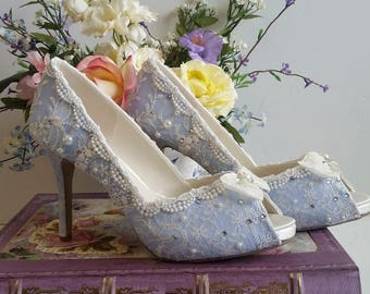 Something Blue Bridal Shoes .. Blue lacy wedding shoes .. comfortable high heels.. Vintage Lace Bridal shoes . JW Brides