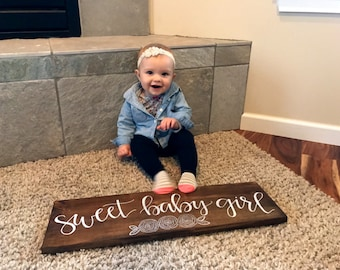 Sweet Baby Girl Sign (With Flowers) - Wood Sign | Baby Shower Gift | Maternity Gift | Nursery Sign | Hand Painted