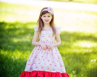 Girls Spring Dress - Easter Dress - Cherry Dress - Ruffle Dress - Flutter Sleeve Dress - Pink Dress - Spring Pictures - Twirl