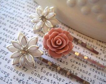 Rhinestone Flower Hair Pin Set, White Hair Pins, Dusty Rose Pink Bobby Pins, Wedding Hair Accessory, Small Gift, Stocking Stuffer