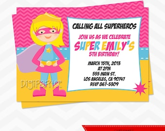 Girl Superhero Invitation