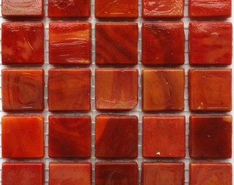 """15mm (3/5"""") Red Orange Marbled Opaque Glass Mosaic Tiles// Mosaic//Mosaic Supplies//Crafts"""