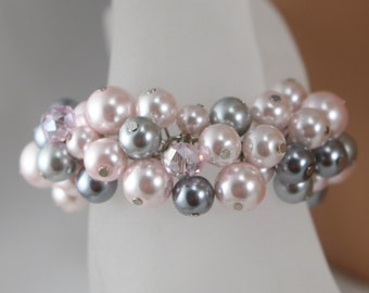 pink bracelet with grey and pewter accents.-bridesmaid jewelry-wedding jewelry