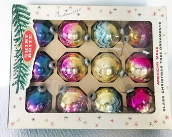 Vintage Shiny Brite Christmas Ornaments Mercury Glass Balls Ombre Fade Glitter - Set of 12