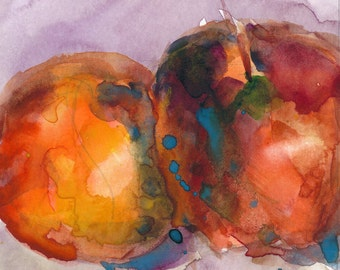 Sale Original Watercolor - TWO Apples 5 x 5 -  Watercolor Painting - Kitchen Art