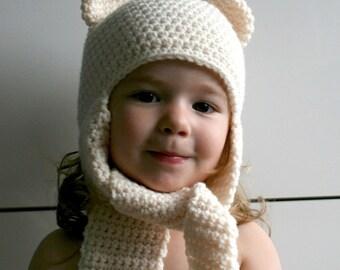Crochet hat pattern, INSTANT DOWNLOAD, crochet baby bear hat pattern, bear hat with ear warmers scarf crochet pattern (82)
