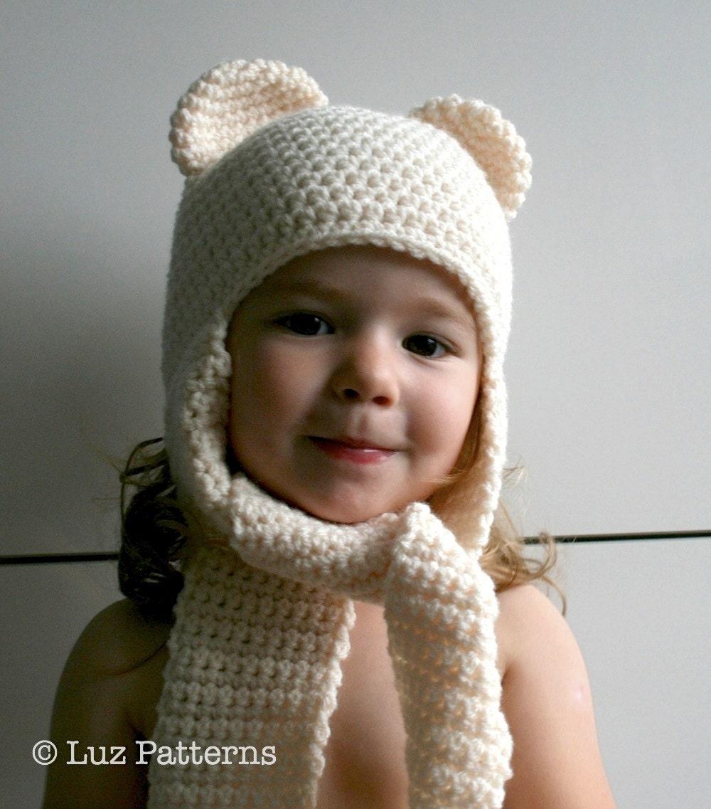 Crochet hat pattern, INSTANT DOWNLOAD, crochet baby bear hat pattern ...