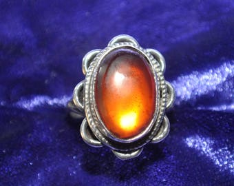 925 Sterling Ring with Orange Lab-Created Sapphire - 0058
