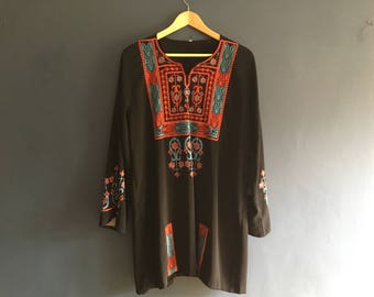 70s Embroidered Kaftan Smock Dress M-L