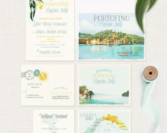 Portofino Destination wedding invitation Portofino Liguria Italy European Illustrated Wedding Invitation set map watercolour Deposit Payment