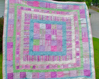 Patchwork Lap Quilt - Picnic Blanket - Handmade - Plaid, Gingham, Floral, Flowers - Traditional