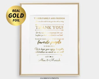 To Our Family And Friends Sign, Gold Foil Wedding Sign, To Our Family And Friends Print, Wedding Thank You Sign, Welcome Wedding Sign 8x10