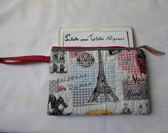 Cover Tablet zippered padded hand clutch, reading light fabric retro 'Eiffel Tower Paris', cotton red Valentines day birthday gift