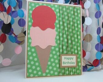 Happy Birthday Ice Cream Card - Green Text Brown Thread - ice cream cone