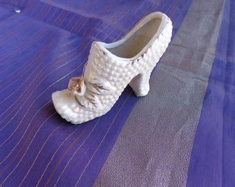 Vintage Porcelain Shoe - White porcelain High Heel Shoe with rose, bumps and gold trim.  Japanese