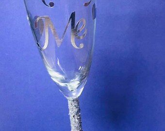 Marry Me Valentine Glitter Glass Hand Made