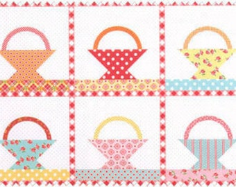 Annie's Farm Stand Red Polka Dot Basket Quilt Panel SKU# 10102-Red