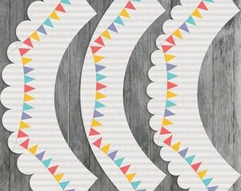 Carnival Circus Printable Cupcake Wrappers - Scalloped Edge - Digital File, Printable, DIY, Instant Download