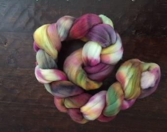 Hand dyed merino combed top, dyed merino wool, merino roving