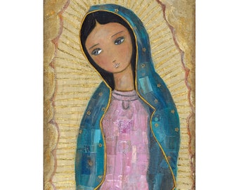 La Virgen de Guadalupe  - ACEO Giclee print mounted on Wood (2.5 x 3.5 inches) Folk Art  by FLOR LARIOS