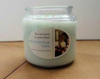 Soy Candle 14 oz. Frosted Peak Tops Country Comfort Jar Double Wicked Light Blue