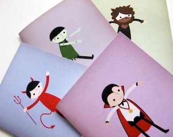 Halloween Cards - Set of 4 Little Monster Cards, Frankenstein, Dracula, Werewolf, Devil, Vampire, Punny Cards, Funny Halloween Cards