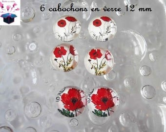6 glass cabochons 12 mm for loop theme poppy number 7