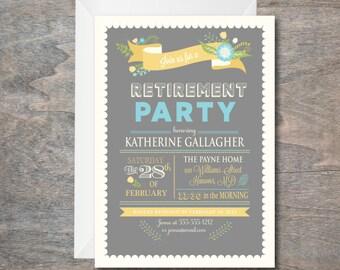Retirement Party invitation, Yellow and Grey Bridal Shower Invitation, Floral Invitation, printable, DIY, Bridal Luncheon Invite, Printed