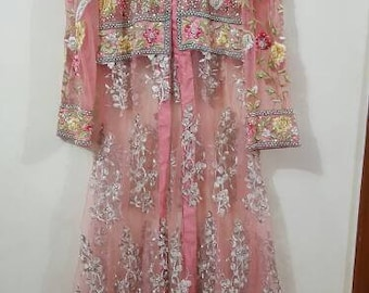 Coral Beaded Jacket , Women Embroidered Jacket, Floral Jacket, Peach Jacket, Pakistani Gown, Pakistani Wedding Clothes