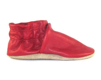 Soft Sole Red Leather Baby Shoes 18 to 24 Month Eco Friendly