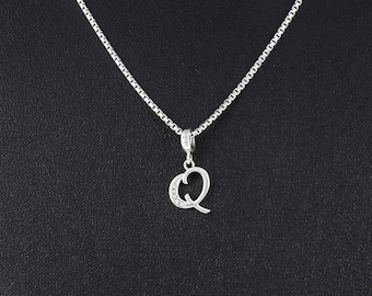 Letter Q Necklace - Personalized Jewelry Gift for Her - Silver Letter Q Initial Necklace Jewelry