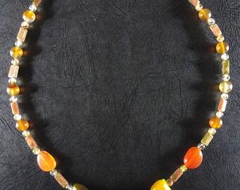 Agate Talon Necklace, Beaded Gemstone Jewelry, Stone Beads, Montana agate, Carnelian, Unakite, Montana-Made